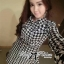 DR-LR-233 Lady Diana Glam Ruffle Houndstooth Shirt Dress thumbnail 3
