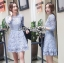 Lady Ariana Sweet Feminine French Lace Dress in Light Blue L217-95C17 thumbnail 1