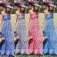 Maxi Dress แม็กซี่เดรสสายเดี่ยวลายสก็อต thumbnail 1