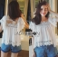 Lady Daphne Feminine Vintage Cotton and Lace Cropped Top L255-69B11 thumbnail 6