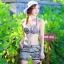 2007 ชุดว่ายน้ำ เซ็ต 4ชิ้น บรา+บิกินี่+ขาสั้น+เสื้อคลุม สีขาวดำลายสวย thumbnail 2