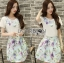 Lady Sasha Sweet Feminine Embroidered White Top and Floral Printed Blue Skirt Set L181-75C08 thumbnail 1