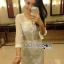 Lady Angelica Pure White Flower Embroidered and Embellished Chiffon Dress L204-79C04 thumbnail 5