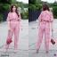เซ็ท 2 ชิ้น (set) งานเซท #สาวอวบ เสื้อคอวี ไขว้อก จั้มเอว ผูกโบว์หลัง แขนระบาย thumbnail 2