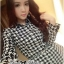 DR-LR-233 Lady Diana Glam Ruffle Houndstooth Shirt Dress thumbnail 2