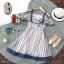 Dress เดรสผ้าชีฟองลายริ้วใหญ่ แขนเปิดไหล่ thumbnail 4