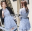 Lady Ariana Sweet Feminine French Lace Dress in Light Blue L217-95C17 thumbnail 4