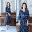 Maxi Dress เดรสผ้าโรนัลโด้คอวีปาดเฉียง พิมพ์ลายดอกไม้ thumbnail 4