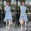 Dress เดรสสั้นลายริ้ว คอจีน แขนกุด ติดกระดุมด้านหน้า thumbnail 4