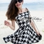 DR-LR-192 Lady Jackie Easy Glam Off-Shoulder Hounds-tooth Dress thumbnail 2