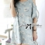 DR-LR-288 Lady Jenna Cut-Out Floral Print Baby Blue Flared Dress thumbnail 5