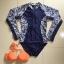 ชุดว่ายน้ำแขนยาววันพีชสีกรมท่า +บราสีส้มสด thumbnail 7