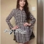 DR-LR-233 Lady Diana Glam Ruffle Houndstooth Shirt Dress thumbnail 4