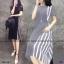 Dress แขนสั้น สีพื้น งานผ้าโฟร์เวย์ ดีเทลตัดต่อด้านข้าง thumbnail 4