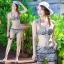 2007 ชุดว่ายน้ำ เซ็ต 4ชิ้น บรา+บิกินี่+ขาสั้น+เสื้อคลุม สีขาวดำลายสวย thumbnail 3