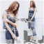 Lady Cassandra Casual Chic Striped Lace Tank Top and Pants Set L266-7911 thumbnail 1