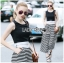Lady Celina Minimal Chic Cropped Top and Striped Pants Set L259-7918 thumbnail 7