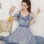 Dress เดรสผ้าชีฟองลายริ้วใหญ่ แขนเปิดไหล่ thumbnail 6