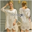 Lady Jen Feminine Laser-Cut and Embroidered Lace Dress in White L201-75C04 thumbnail 1