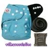กางเกงผ้าอ้อมชาโคลขอบปกป้อง-สีพื้น แถมแผ่นซับชาโคล5ชั้น -Blue