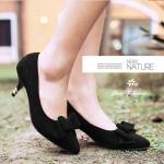 รองเท้าส้นเตี้ยไซส์ใหญ่ 43-44 สูง 2 นิ้ว ติดโบว์ สีดำ รุ่น KR0680