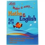 2 in 1 : Letts : Make it easy Maths And English - Age 8-9 แบบฝึกหัด คณิตศาสตร์ & ภาษาอังกฤษ KS 2