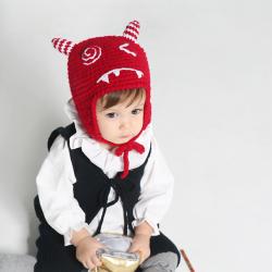 HT513••หมวกเด็ก•• / หมวกไหมพรม-ปีศาจหูตั้ง (สีแดง)
