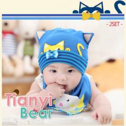 AP173••เซตหมวก+ผ้ากันเปื้อน•• / Cat [น้ำเงิน]