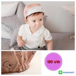 HT152••หมวกเด็ก•• / หมวกแก็ปแมวเหมียว (สีกะปิ)