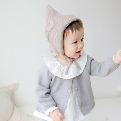 HT316••หมวกเด็ก•• / [สีน้ำตาล+เทา] หมวกไหมพรมทรงสูง