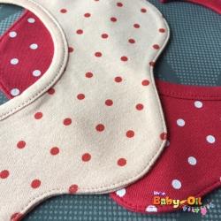 ผ้าซับน้ำลายเด็ก ผ้ากันเปื้อนเด็กเล็ก แบบ 360 องศา ปลายหยักโค้ง / ลายจุด (มี 2 สี)