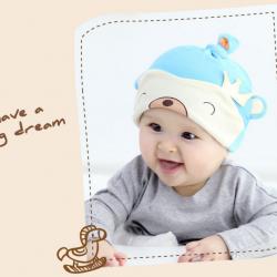 HT404••หมวกเด็ก•• / หมวกบีนนี่-หมีมงกุฎ (สีฟ้า)