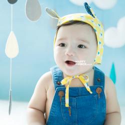 HT212••หมวกเด็ก•• / [สีเหลือง] หมวกนักบินลายสามเหลี่ยม