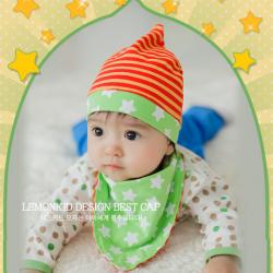 AP183••เซตหมวก+ผ้ากันเปื้อน•• / ดาว [สีส้ม-เขียว]