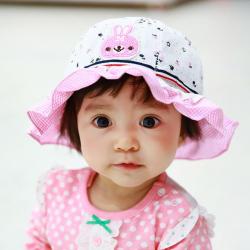 HT488••หมวกเด็ก•• / หมวกปีกกว้าง-Rabbit (สีชมพู)