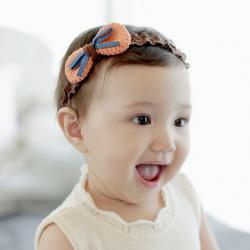 HB071••ที่คาดผมเด็ก•• โบว์ถัก (สีส้ม)