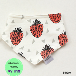 ผ้าซับน้ำลายสามเหลี่ยม ผ้ากันเปื้อนเด็ก [ผืนเล็ก] / Red Strawberry