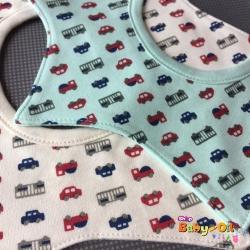 ผ้าซับน้ำลายเด็ก ผ้ากันเปื้อนเด็กเล็ก แบบ 360 องศา ปลายแฉก / ลายรถยนต์ (มี 2 สี)