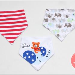 ผ้าซับน้ำลายสามเหลี่ยม ผ้ากันเปื้อนเด็ก / เซตหมี+ช้าง (3 ผืน/เซต)