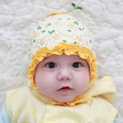 HT430••หมวกเด็ก•• / หมวกบีนนี่-ดอกไม้ (สีเหลือง)
