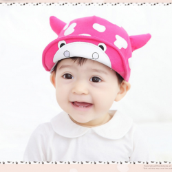 HT319••หมวกเด็ก•• / หมวกแก็ป-ลายวัว (สีชมพูเข้ม)