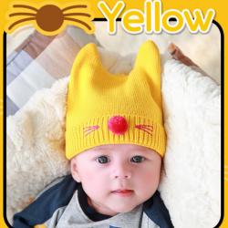 HT264••หมวกเด็ก•• / แมวเหมียว [สีเหลือง]