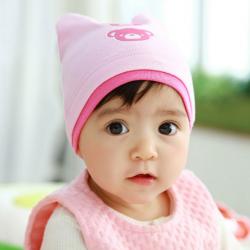 HT450••หมวกเด็ก•• / หมวกบีนนี่-หมีคู่ (สีชมพูอ่อน)