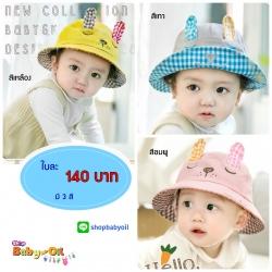 หมวกเด็กปีกกว้าง หมวกซันเดย์ ลาย Bunny (มี 5 สี)