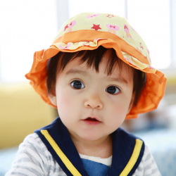 HT481••หมวกเด็ก•• / หมวกปีกกว้าง-กระต่าย (สีส้ม)
