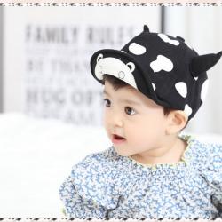 HT317••หมวกเด็ก•• / หมวกแก็ป-ลายวัว (สีดำ)