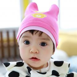 HT449••หมวกเด็ก•• / หมวกบีนนี่-หมีคู่ (สีชมพูเข้ม)