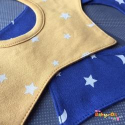 ผ้าซับน้ำลายเด็ก ผ้ากันเปื้อนเด็กเล็ก แบบ 360 องศา ปลายแฉก / ลายดาว+พระจันทร์เสี้ยว (มี 2 สี)