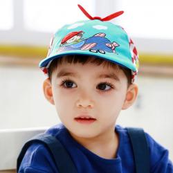HT520••หมวกเด็ก•• / หมวกเบเร่ต์-ลิงขับเครื่องบิน [สีฟ้า]