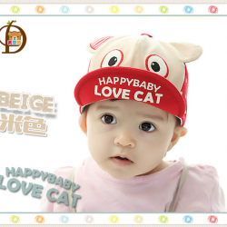 HT389••หมวกเด็ก•• / หมวกแก็ป LOVE CAT (สีเบจ)